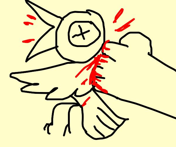 Punching a bird like an ASSHOLE