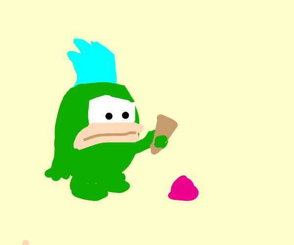 green spiky hair dude dropped his ice cream