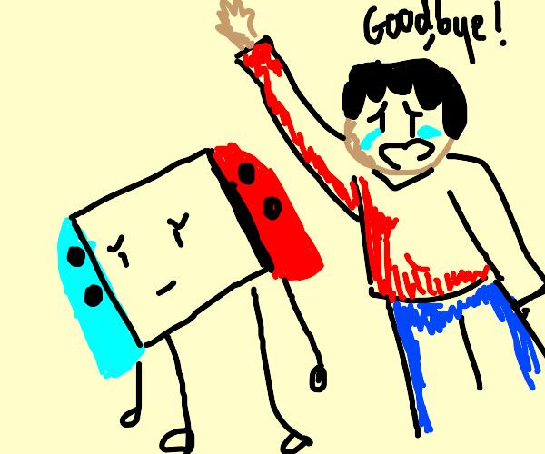 crying kid says goodbye to nintendo switch
