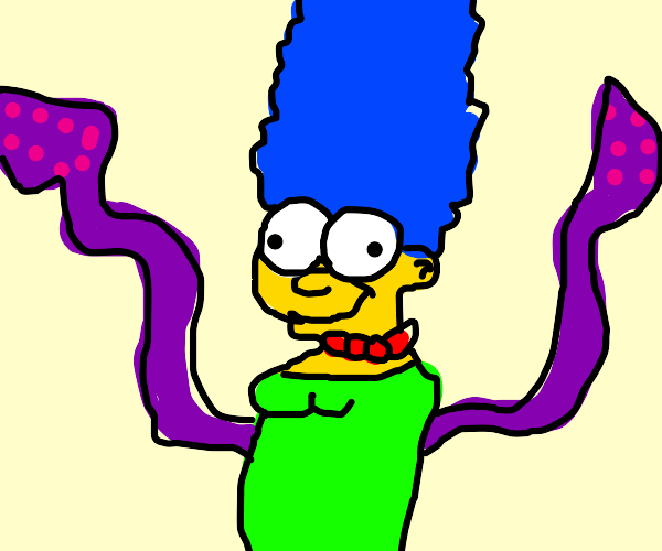 marg (simpsons) with squiqqily arms