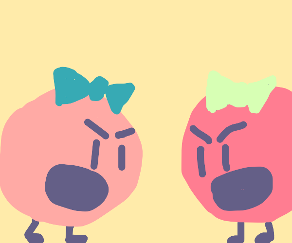 2 balls (pink-red) with bows arguing
