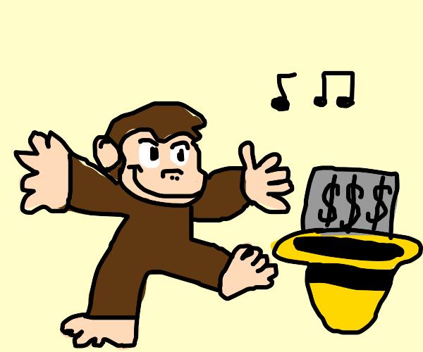 Homeless curious George dances for money
