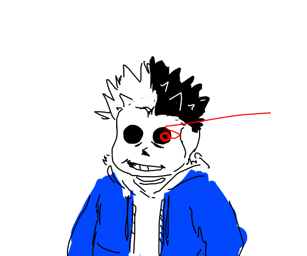 sans with red eye wearing roblox equinox hair