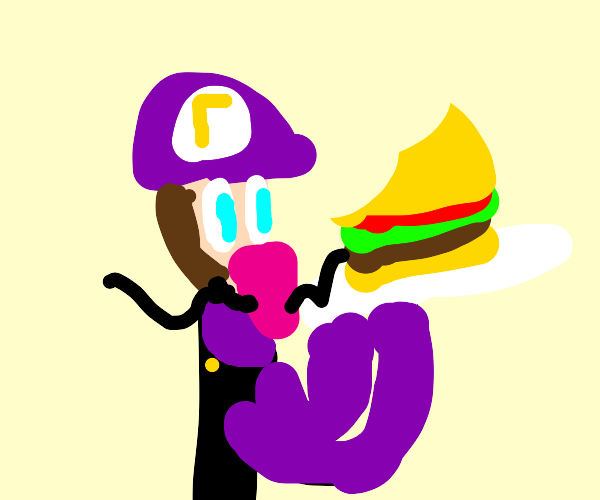 Waluigi eating a burger