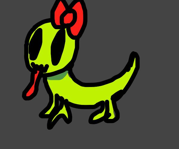 Cute lizard wearing a bow
