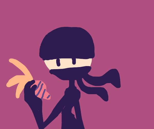 ninja with a beet in iys hand