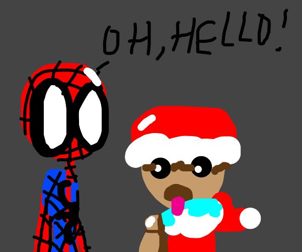Spiderman meets Pug Santa