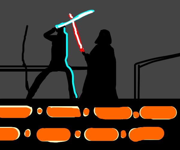 Luke dodging blocks thrown by Vader