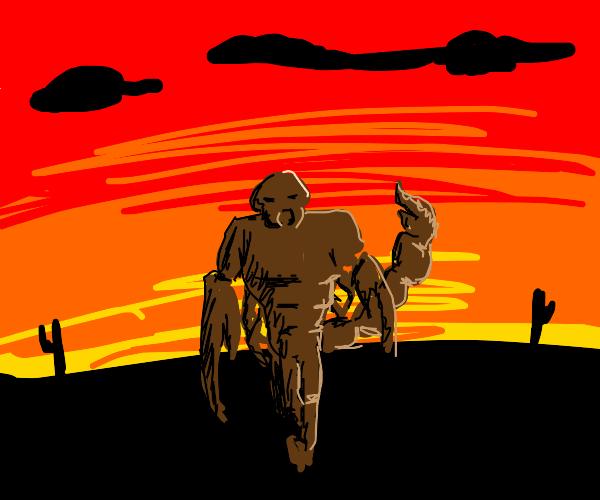 A red scorpion walking across the desert