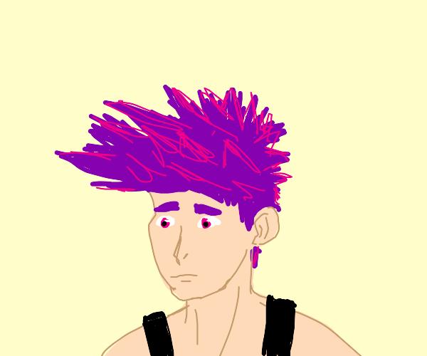 Guy with purple anime hair