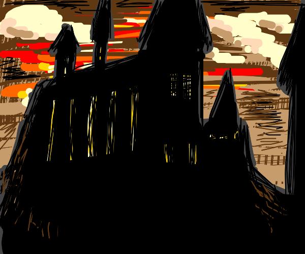 Hogwarts castle with apocalypse-like sky