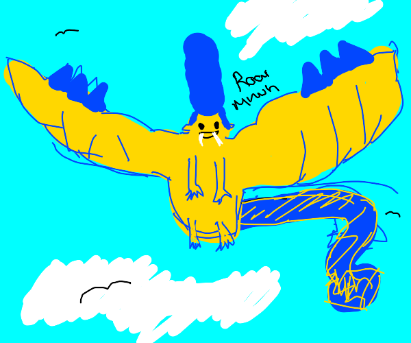 Marge Simpson morphing into a dragon