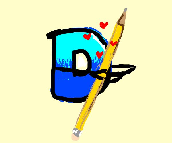 Drawception mascot hugs and loves a pencil