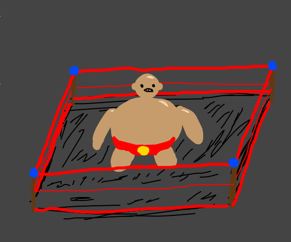 A fat bald guy in a wrestling ring!