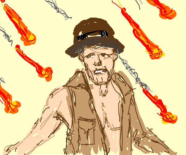 Indiana Jones dismayed by oncoming meteors
