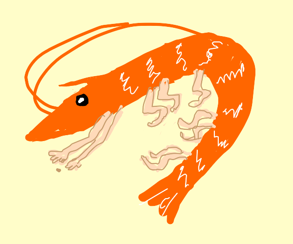 Shrimp with human legs and arms