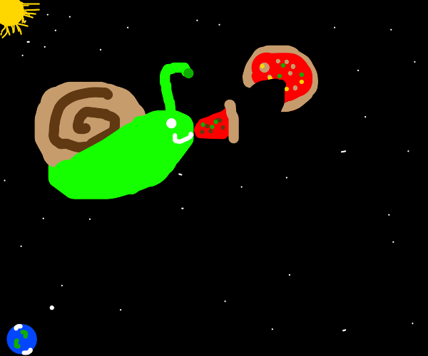 Snail eating pizza in space