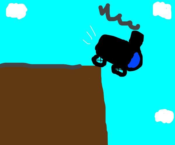 Train falls off cliff