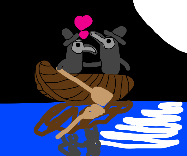 Two plague doctors on a date in a row boat