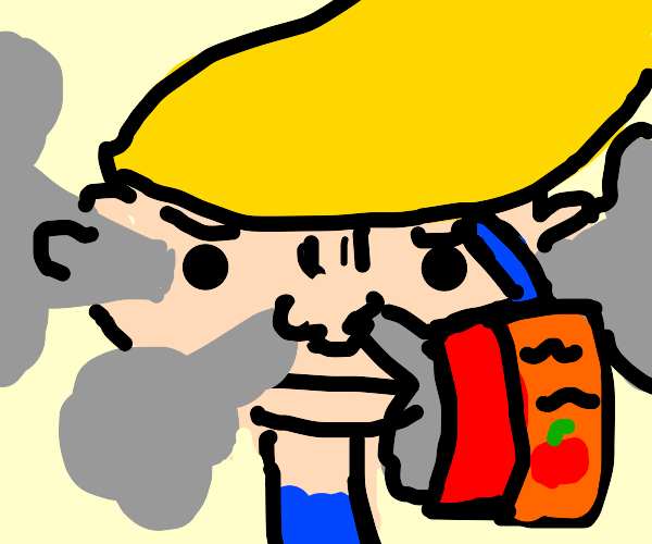 Annoyed blonde kid with Orange Juice