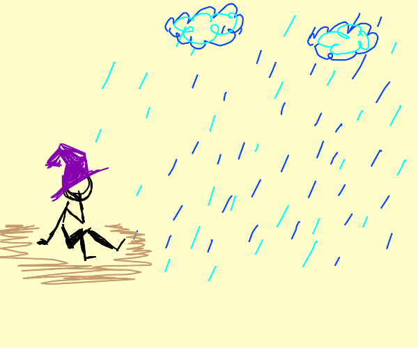Looking wistfully at the rain in purple hat