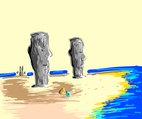 Easter Island statues with cool shades