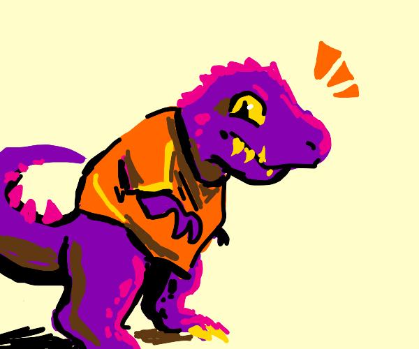 purple dinosaur with orange shirt