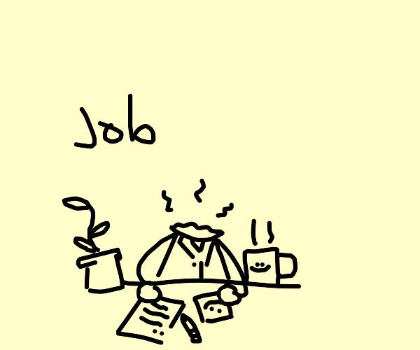 decapitated desk man