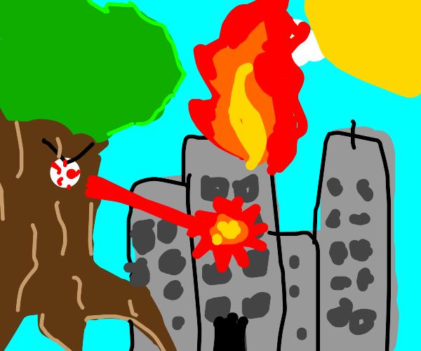 Evil Laser-Eyed Tree Destroying City