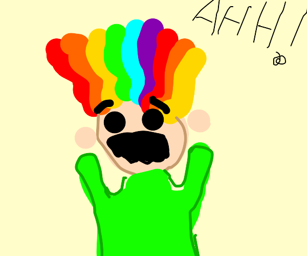 guy with rainbow hair is scared