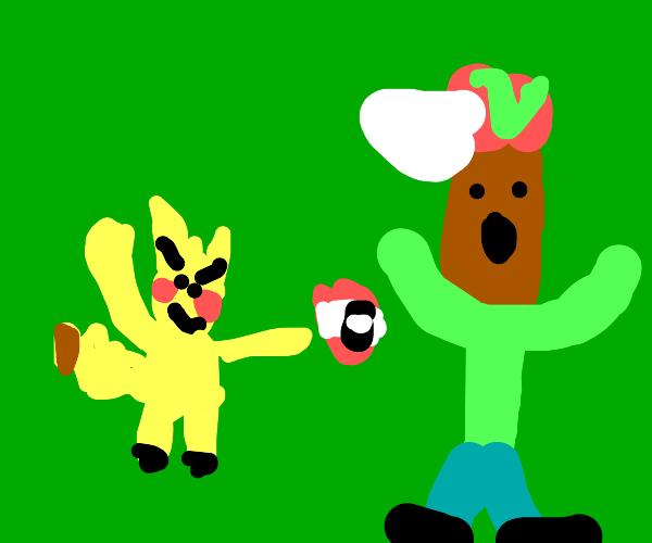 pikachu throws a pokeball at a human