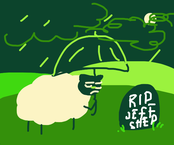 Sheep respects gravestone