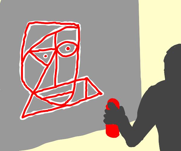 Picasso graffiti in white and red
