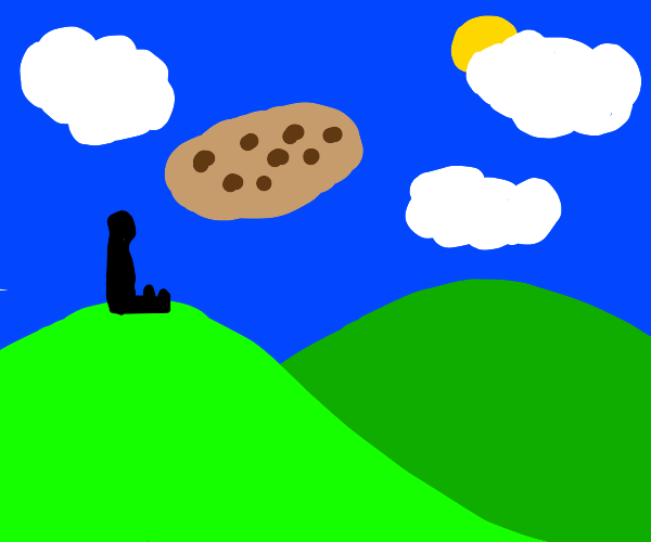 Landscape with a cookie in its sky