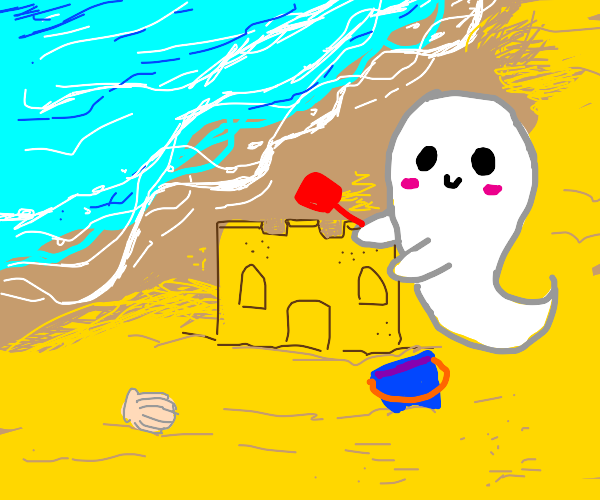 Little ghost makes a sand castle