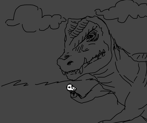 t-rex holding a human skull in his tiny hand