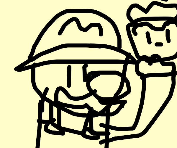 Mario holding a Turnip