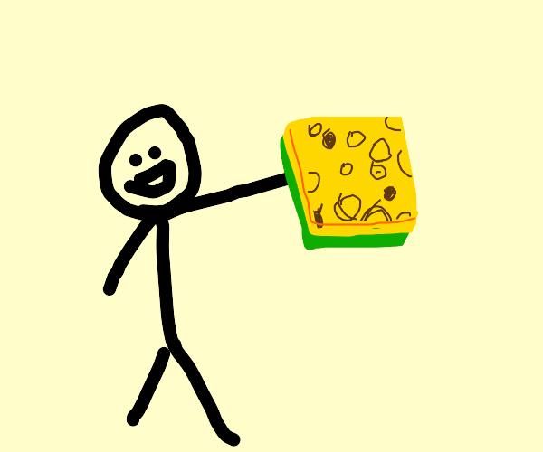 man with sponge
