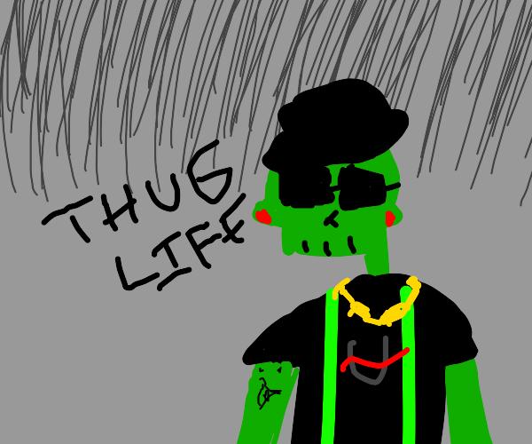 half alien, half skelton, full gangstar