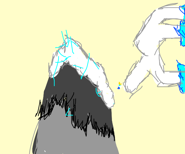 ice king(adventure time)falls from a mountain
