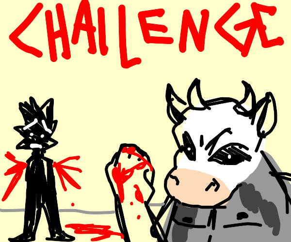 Cow challenges armless man
