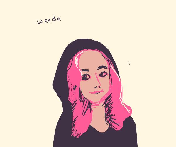 Wanda wearing a hoodie