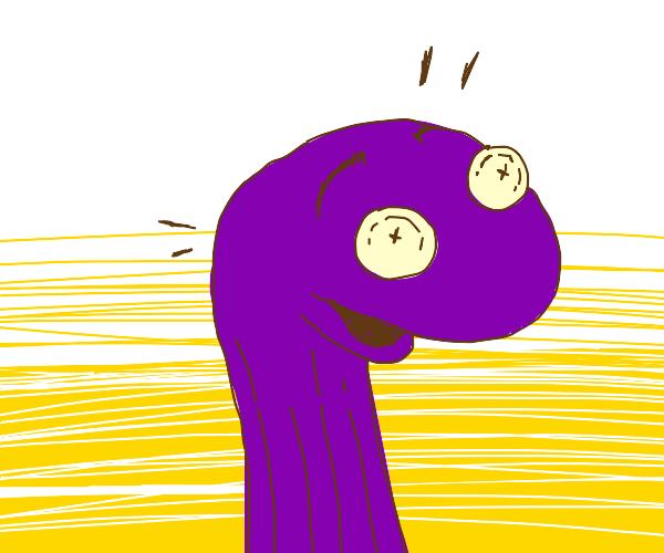 Shocked purple sock puppet