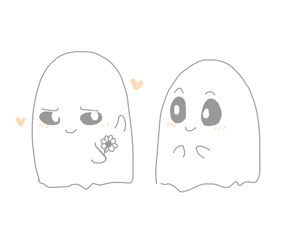 One very cute ghost gives another a flower