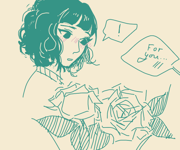 giving a girl flowers