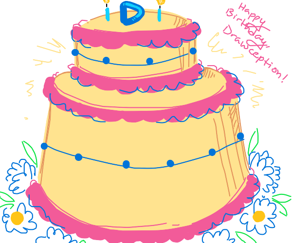 Drawception D cake