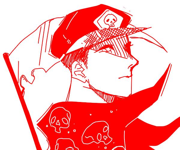 Grim Reaper wearing a red hat