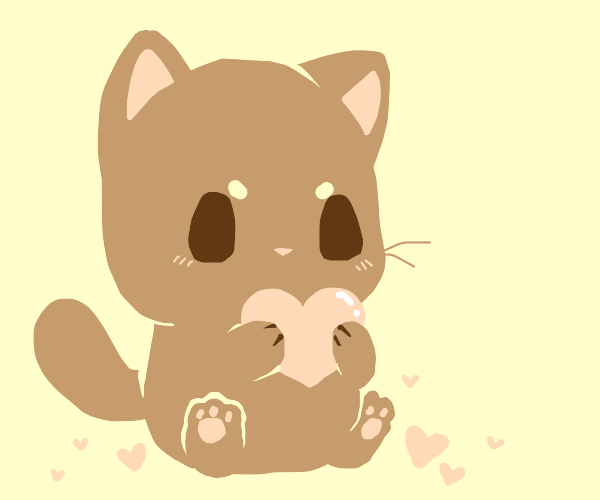Cat holding a heart