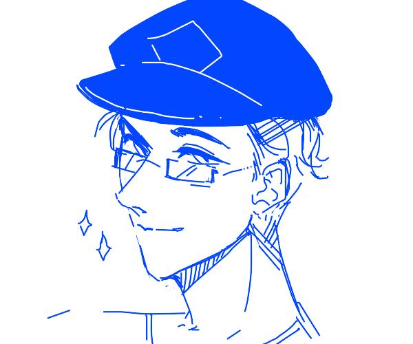Man wearing blue hat