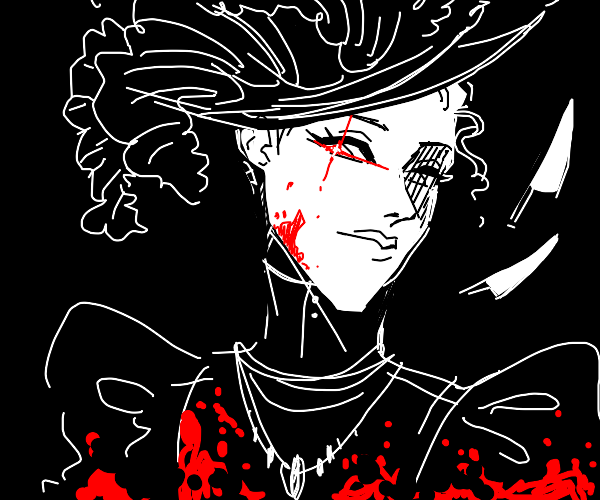 Victorian Era murderer with shiny red eye